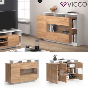 Vicco Sideboard Linnea Weiß Gold Craft