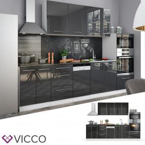 VICCO Küche FAME-LINE Küchenzeile Einbauküche 295cm-Anthrazit Hochglanz