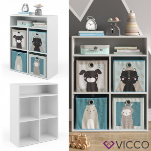 Vicco Kinderregal für 4 Faltboxen weiß