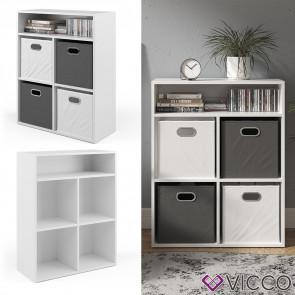 Vicco Bücherregal für 4 Faltboxen weiß