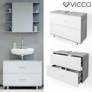 VICCO Waschtischunterschrank 80cm ILIAS Beton-Weiß