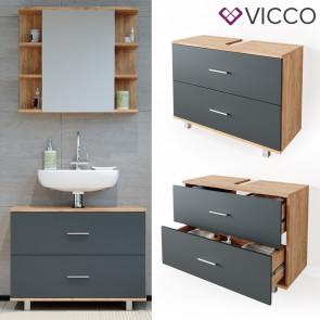 VICCO Waschtischunterschrank 80cm ILIAS Goldkraft-Anthrazit