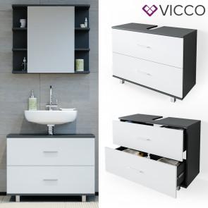 VICCO Waschtischunterschrank 80cm ILIAS Anthrazit-Weiß