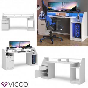 VICCO Gamingtisch JOEL Groß Weiß
