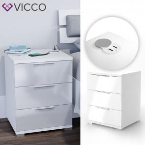VICCO Nachtschrank Florenz Weiß Hochglanz mit USB Ladestation