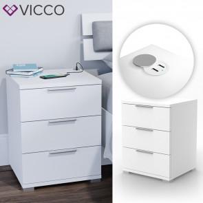 VICCO Nachtschrank Florenz Weiß mit USB Ladestation