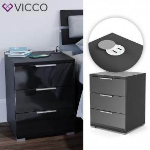 VICCO Nachtschrank Florenz Schwarz Hochglanz mit USB Ladestation