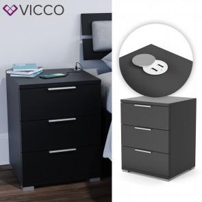 VICCO Nachtschrank Florenz Schwarz mit USB Ladestation