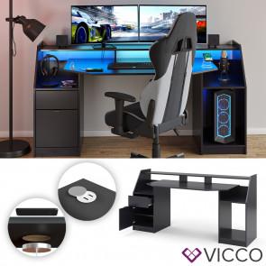 VICCO Computertisch JOEL Groß Schwarz mit QI- und USB-Ladestation