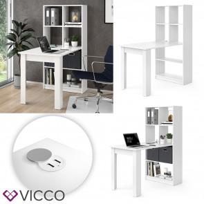 Vicco Schreibtisch Gael Regalkomb weiß mit USB-Ladestation