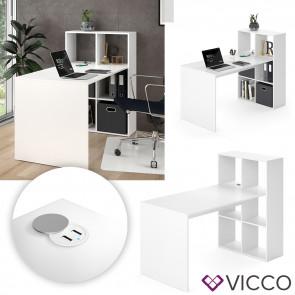 Vicco Schreibtisch Emir Regalkombination Weiß mit USB Ladestation