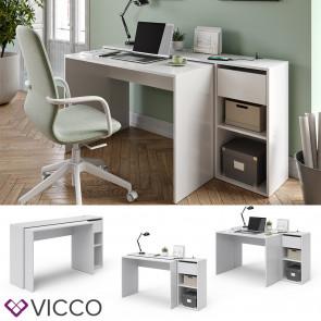 Vicco Schreibtisch Ben Weiß ausziehbar USB-Ladestation