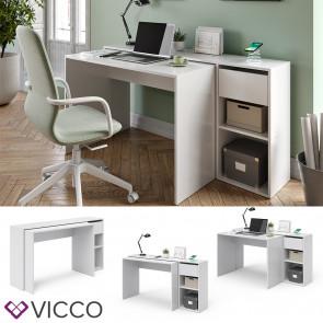 Vicco Schreibtisch Ben Weiß ausziehbar Qi-Ladestation kabellos