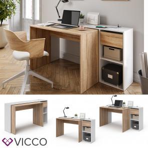 Vicco Schreibtisch Ben Weiß Sonoma ausziehbar USB-Ladestation