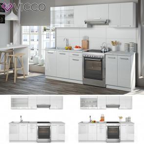 Vicco Küchenzeile Raul 240cm Weiß HGL