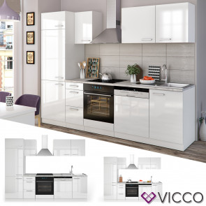 Küchenzeile Optima 270 cm Weiß HGL