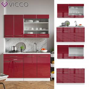VICCO Küchenzeile Single Fame-Line Bordeaux Hochglanz