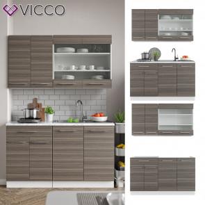 VICCO Küchenzeile Single Fame-Line Edelgrau