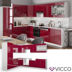 VICCO Eckküche Küchenzeile 230x290cm Fame-Line Bordeaux Hochglanz
