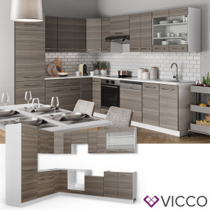 VICCO Eckküche Küchenzeile 230x290cm Fame-Line Edelgrau