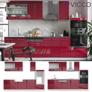 VICCO Küchenzeile 240cm Fame-Line Bordeaux Hochglanz