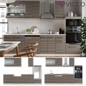 VICCO Küchenzeile 240cm Fame-Line Edelgrau