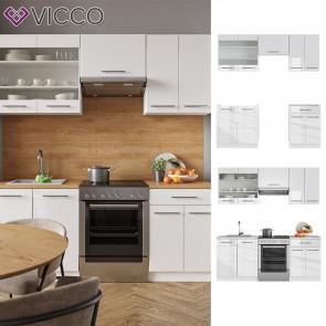 VICCO Küchenzeile 200cm Fame-Line Weiß Hochglanz