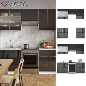 VICCO Küchenzeile 200cm Fame-Line Anthrazit Hochglanz