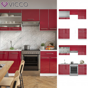 VICCO Küchenzeile 200cm Fame-Line Bordeaux Hochglanz