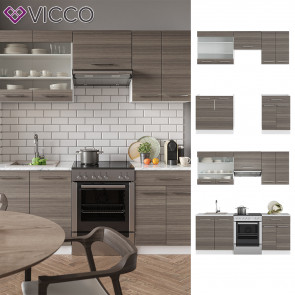 VICCO Küchenzeile 200cm Fame-Line Edelgrau