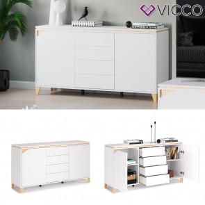 Vicco Sideboard Kommode Anrichte Luisa weiß 4 Schubladen 2 Türen Highboard Regal
