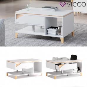 Vicco Couchtisch Sofatisch mit Schublade Luisa weiß 100x60cm Kaffeetisch Ablage