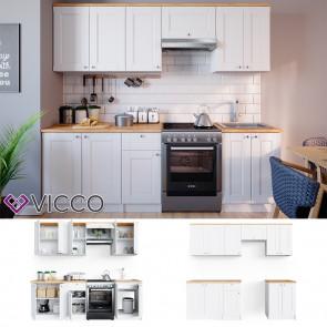 VICCO Küchenzeile Bergamo 240cm Landhaus weiß