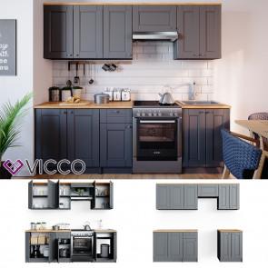 VICCO Küchenzeile Bergamo 240cm Landhaus Küche Einbauküche Küchenblock grau
