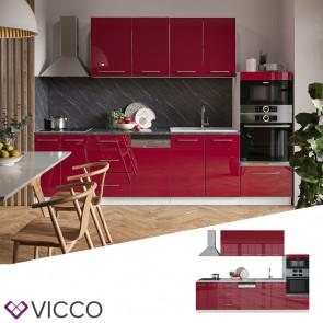 Vicco Küche FAME-LINE Küchenzeile Einbauküche 295 cm Bordeaux Hochglanz