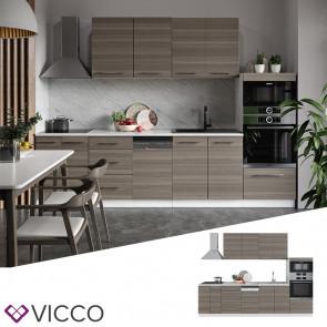 Vicco Küche FAME-LINE Küchenzeile Einbauküche 295 cm Edelgrau