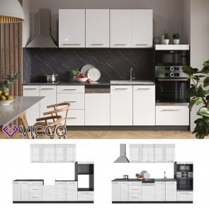 Vicco Küche FAME-LINE Küchenzeile Einbauküche 295 cm Weiß Hochglanz