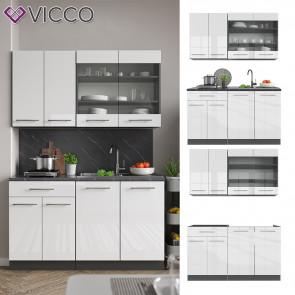 Vicco Küchenzeile Single Einbauküche 140 cm Küchen Weiß Hochglanz Fame-Line