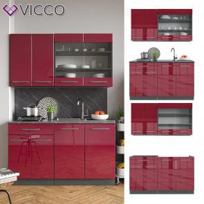 Vicco Küchenzeile Single Einbauküche 140 cm Küchen Bordeaux Hochglanz Fame-Line