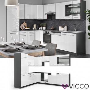 Vicco Küchenzeile Fame-Line Eckküche Winkel Küche Einbau Weiß Hochglanz