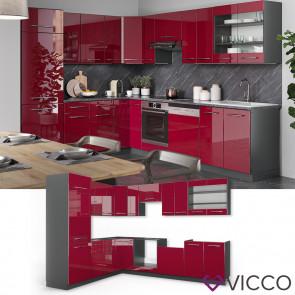 Vicco Küchenzeile Fame-Line Eckküche Winkel Küche Einbau Bordeaux Hochglanz
