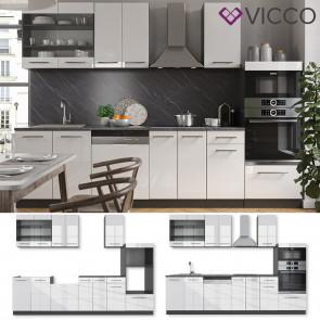 Vicco Küche Fame-Line 240 cm Küchenzeile Küchenblock Einbau Weiß Hochglanz