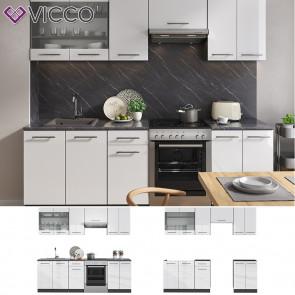 Vicco Küche Fame-Line Küchenzeile Küchenblock Einbauküche 240cm Weiß Hochglanz
