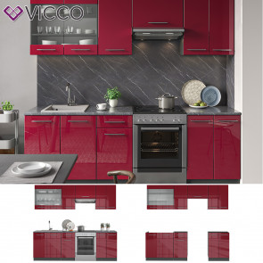 Vicco Küche Fame-Line Küchenzeile Küchenblock Einbauküche 240cm Bordeaux Hochglanz