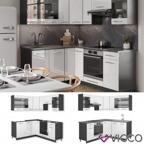 Vicco Eckküche Fame-LINE Küchenzeile Küche 190cm Weiß Hochglanz