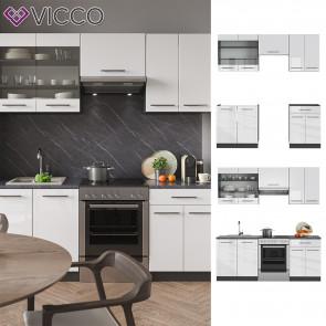 Vicco Küchenzeile Küchenblock Einbauküche 200cm Fame-Line Weiß Hochglanz