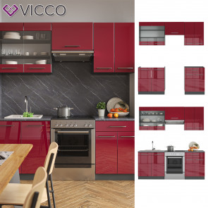 Vicco Küchenzeile Küchenblock Einbauküche 200cm Fame-Line Bordeaux Hochglanz