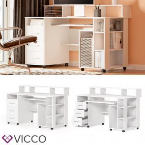 Vicco Schreibtisch Arbeitstisch Computertisch Bern auf Rollen Schubladen Ablagen