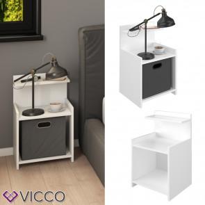 Vicco Nachttisch Beistelltisch Nachtschrank Alpin weiß Nachtkommode für Faltbox