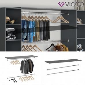 Vicco Kleiderstange 2er Set für Kleiderschrank Visit mit Platte Dielenschrank